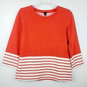 J. CREW Nautical Colorblock Striped Orange Sweater